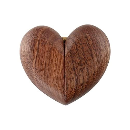 Almacenamiento de joyas Oganizer Caja de joyería de madera maciza vintage, amor corazón anillo de diamante propuesta portátil boda mini anillo caja de almacenamiento apertura magnética y cierre Para n