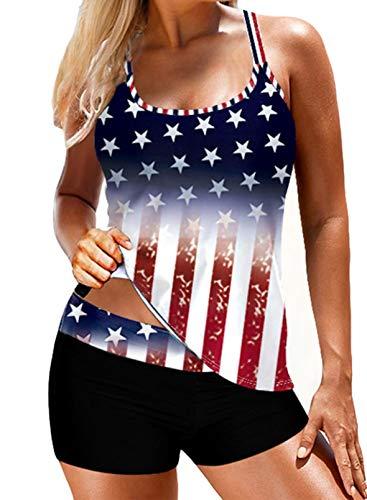 CORAFRITZ Traje de baño casual de 2 piezas Tankini Split traje de baño estampado bandera americana traje de baño para mujer Bikini Top Bikinis