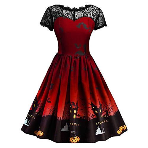 Kamenda - Vestido de Halloween con estampado de murciélagos de calabaza, elegante, manga corta, empalme de encaje, gran columpio, disfraz de Halloween, talla grande, color morado XL