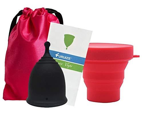 Copa Menstrual Furuize Sport con Taza de Esterilización. Silicona suave de grado médico 100%. Previene infecciones y fortalece el suelo pélvico. Alternativa saludable y ecológica Talla S