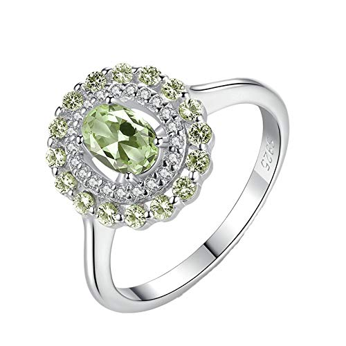 KnBob 925 Sterling Silver Ring for Women Girls Olive Green Oval Cubic Zirconia Cluster Ring Fashion Band Ring Size L 1/2
