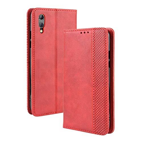 LUSHENG Xiaomi Black Shark 2 Pro Hülle, Superdünne Brieftasche Ledertasche mit Kreditkartenfach Standfunktion TPU-Innenschale für Xiaomi Black Shark 2 Pro - Rot