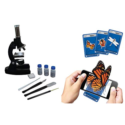 Sakar Kids Tech Augmented Reality Die-cast Microscope Kit VA90029 Includes 10 AR Cardsup to 1200X Magnification Power & a Set of Tools, 300x, 600x and 1200x Magnification Power, Black