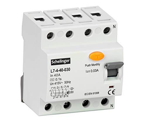 Fehlerstromschutzschalter FI-Schalter RCD 4-polig 40A 30mA Installation (FI-Schalter 3-Polig 40A)