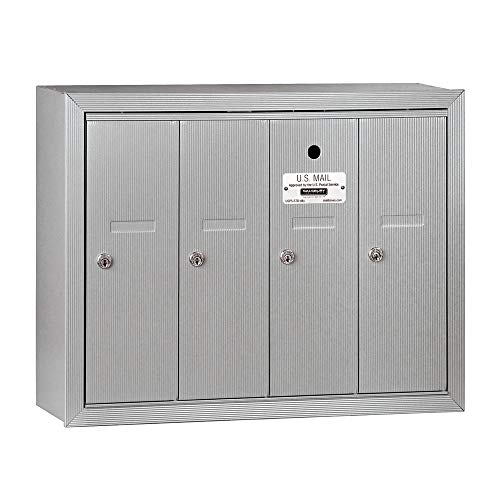 Salsbury Industries, Aluminum 3504ASU Surface Mounted Vertical Mailbox with 4 Doors and USPS Access