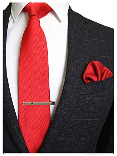 JEMYGINS Red Formal Necktie and Pocket Square, Hankerchief and Tie Bar Clip Sets for Men