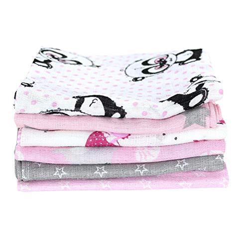 TupTam Baby Mullwindeln Spucktücher 70x80 6er / 12er Pack, Farbe: Mädchen, Anzahl der Teile:: 6er Pack