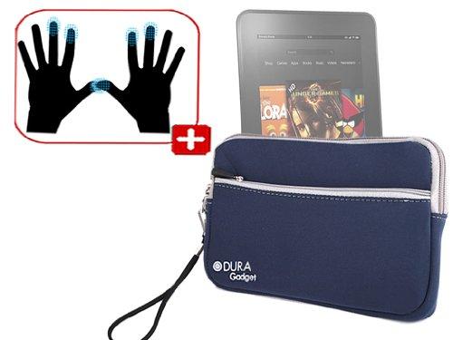 """DURAGADGET Housse étui résistant en néoprène Bleu + Gants capacitifs conducteurs Taille L (Large) pour Nouvelle Tablette Kindle Fire 7"""" et Fire HD d'A"""