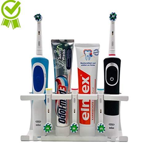 KK-solutions Elektrische Zahnbürstenhalter Universal für elek. Zahnbürste in weiß - kinderleichte Wandmontage