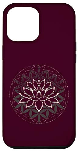 iPhone 12 Pro Max Lotus mandala lotus flower with flower of life yoga zen Case