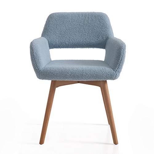 Irene House Silla tocador elegante con patas de madera de haya. Silla de salón de diseño excepcional con respaldo y reposabrazos, silla butaca de recepción, silla comedor moderna. (azul)