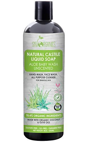 Castile Soap Organic Unscented by Sky Organics (8oz), Plant Based Liquid Soap and All Purpose Wash, Aloe Vera Baby Wash, Vegan & Cruelty-Free, Fragrance-Free Natural Castile Soap Savon de Marseille