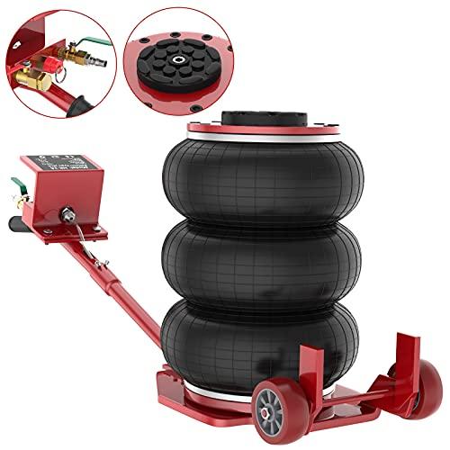 IMAYCC Gato Neumático 3T/6600 lbs portátil , Gato para Coche con diseño de Triple Bolsa , Gato Neumático de Aire,Rango de Altura de elevación 150-400 mm ,elevación rápida para automóviles(Rojo)