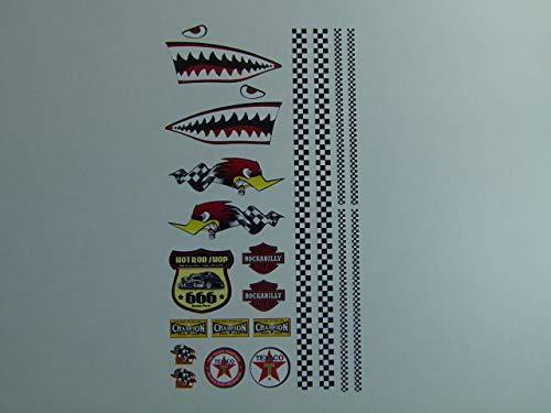 cut-it folientechnik & design RC007 / Aufkleber Set Modellbau 30x17cm Old School 76 Hai Shark Flagge Tuning 1:18 Auto RC Champion