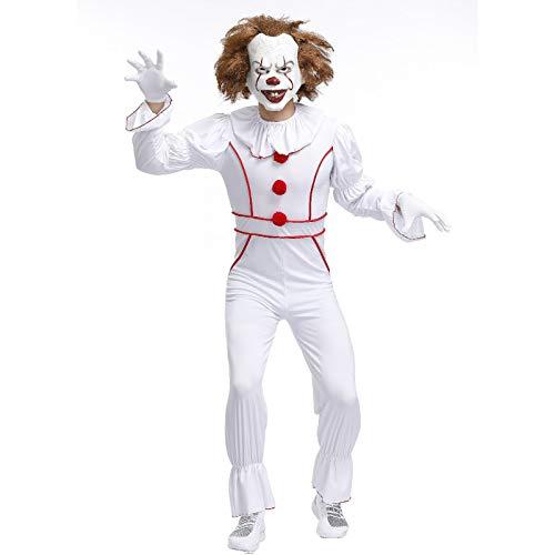 LISI Pennywise Traje Adulto Asesino IT Clown Disfraz Stephen King Payaso Asesino Malo para Halloween Adultos Hombres,Blanco,M