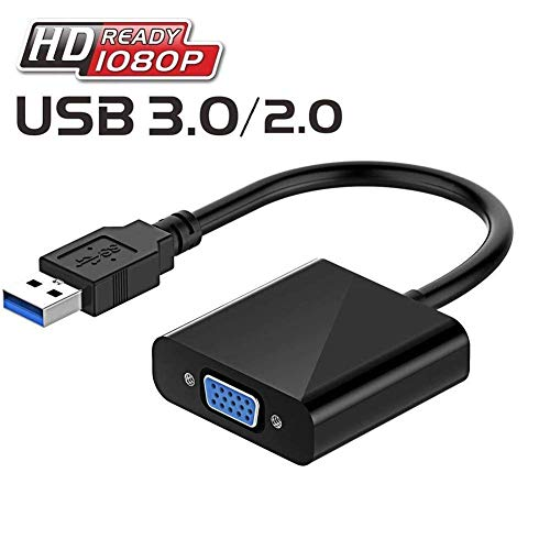 USB-3.0 to VGA Adapter, Ucaca Multi-Display Video Converter PC External Video Card Support Monitor, Projector, HDTV Windows 10 8.1 8 7 XP Black