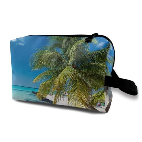 Neceser Colgante de Viaje,Coconut Palm en Caribbean Beach Cancún México,Organizador de Maquillaje cosmético Bolsa de higiene y Organizador de Ducha