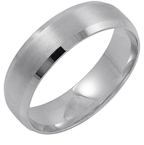 Men's 14K White Gold 6MM Comfort Beveled Edge Wedding Band (Available Ring Sizes 8-12 1/2) Size 12.5