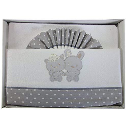 Pekitas - Set di 3 lenzuola per lettino da 60 x 120 cm, 100% flanella di cotone, prodotte in Spagna, colore: grigio
