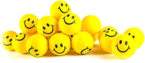 Stress Balls for Kids and Adults - Bulk Pack of 24 2' Stress Smile Squeeze Balls - Neon Yellow Funny Face Stress Balls