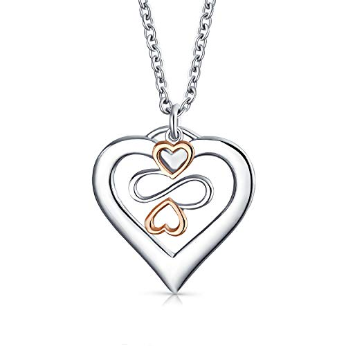Ayllu Symbol For Love Luck Unity Inspirational Open Heart Charm Pendant Necklace For Women Rose Gold Sterling Silver