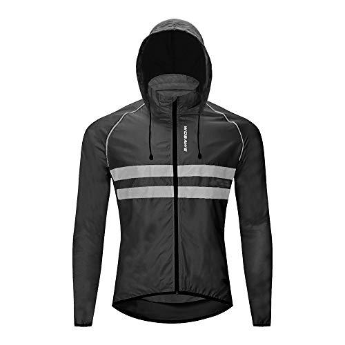 WOSAWE Giacche con cappuccio Uomo Ciclismo Leggero Impermeabile Moto Vento Cappotto Riflettente Corsa Alpinismo Abbigliamento Sportivo(BL225 Nero XL)