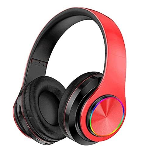 PSFYYY Auriculares inalámbricos con Bluetooth para montaje en la cabeza, juego de música de bajo pesado y plegable rojo y negro
