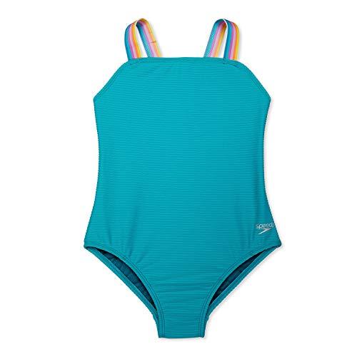 Speedo Girls' Standard Swimsuit One Piece Square Neck Thin Strap, Ceramic, 10