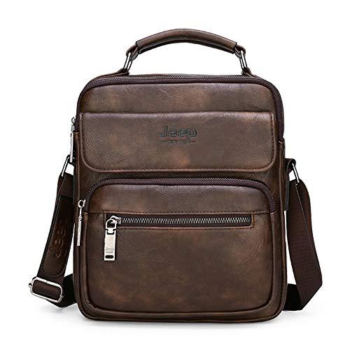 JEEP BULUO Leather Crossbody Handbag Daypack For 9.7' iPad Shoulder Messenger Bag For Men(Brown)