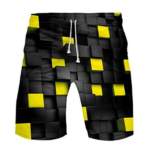 Notdark Herren Geometrischer dreidimensionaler Druck Badeshorts - Strandhose Herren Strandhosen Kurze Hosen Sommerhosen Drucken mit Kordelzug Schnelltrocknend(2XS,Gelb)