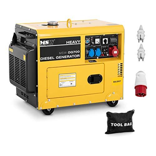 MSW Gruppo Elettrogeno Diesel Professionale Generatore Di Corrente MSW-DG700 (4400 W, 14,5 L, 230/400 V)