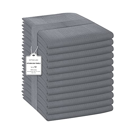 Cotton Clinic Set of 12 Pure Cotton Dish Towels 40x70 cm, Kitchen Towels with Hanging Loop, Thick Dish Cloths, Bar Towels, Absorbent Tea Towels Grey