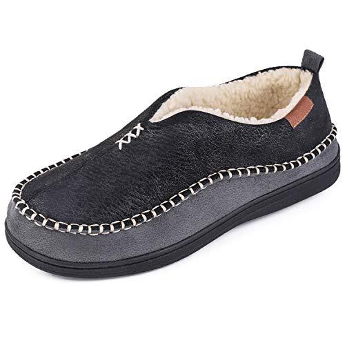 EverFoams Pantofole da uomo invernali calde Ciabatte in pelle sintetica con memory foam per interni ed esterni nero,43 EU