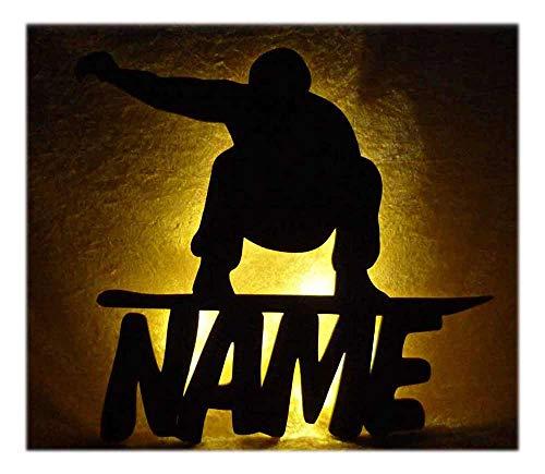 Schlummerlicht24 Led Snowboard Zimmer Deko mit Name nach Wunsch, ideales Geschenk für Wintersportler und Snowboarder