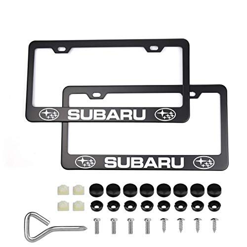 2PSC License Plate Frames For Subaru, Black Stainless Steel Car Licence Plate Covers with Black Screw Caps for US Standard