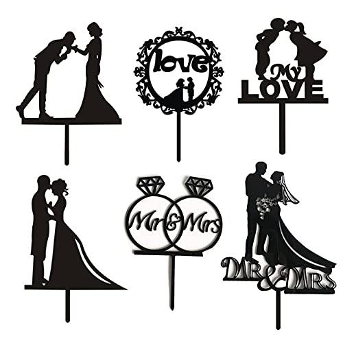 NA 6 Pièces Cake Topper Mr et Mrs Décoration de Gâteau de Mariage Acrylique Gâteau de Mariage Insère GâTeau Plugin pour la Fête de Mariage de Fiançailles de Mariage Fête d'anniversaire