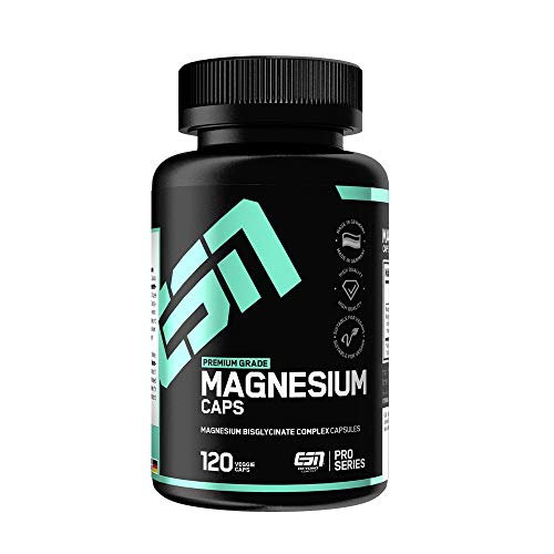 ESN Magnesium Caps – 120 Kapseln – Top: Magnesium-Bisglycinat (Magnesium-Chelat) – pro Kapsel 150 mg elementares Magnesium – Laborgeprüfte Qualität, vegan, hochdosiert – Made in Germany