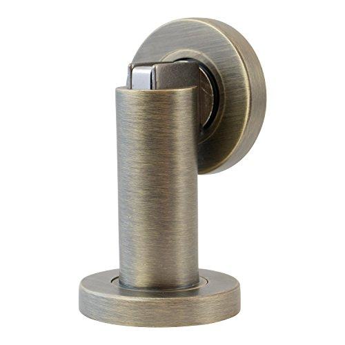 Stoppwerk Türfeststeller Magnetisch - Matt, Antik Optik Türhalter inkl. Material zur Montage für Boden oder Wand - ø5cm H:8,4cm - Türfeststeller
