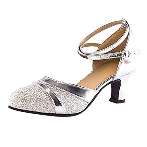 Damen Standard Latein Tanzschuhe Brautschuhe Mittelhohe Knöchelriemen Weicher Boden Schlüpfen, Celucke Klassische Pumps Basic Absatzschuhe Frühling Elegante Schuhe (Silber, EU37)