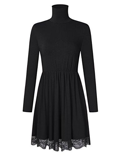 RONSHIN Fashion for Leadingstar Dames Effen kanten rand Elastische taille Coltrui A-lijn Casual jurk met lange mouwen