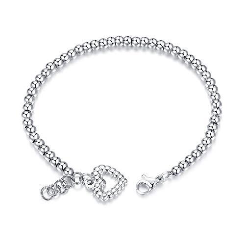 WANGLXTC fijne titanium stalen armband, hart bedelarmband voor vrouwen, bal armband met hart vorm bedel, deze dames zilveren armband is de perfecte sieraden cadeau voor vrouwen Unisex