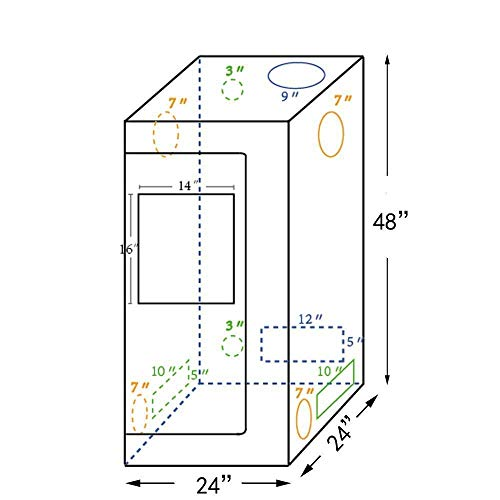 CoolGrows 2x2x4 Feet Small Indoor Mylar Hydroponics Grow Tent (24'x...