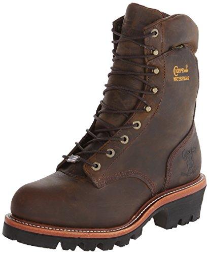 Chippewa Men's 9 Inch Bay Apache Waterproof Steel Toe Super Logger Boot,Brown,7.5 E US