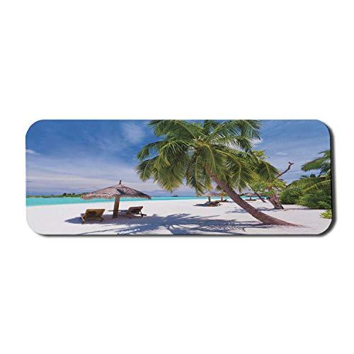 Coastal Computer Mouse Pad, tropische Insel mit idyllischen Liegestühlen der Lagune unter Palmen Sonniger Tag, rechteckiges rutschfestes Gummi-Mauspad Großes Grün Blau Weiß