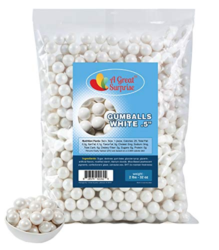 Gumballs in Bulk - White Gumballs for Candy Buffet - Mini Shimmer Gumballs 1/2 Inch - Bulk Candy 2 LB