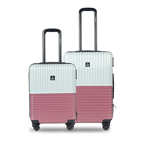 Nasher Miles Istanbul 20, 24 Inch ,Set of 2, Hard-Sided, Polycarbonate Luggage, Silver and Rose Gold 55, 65 cm Trolley Bag