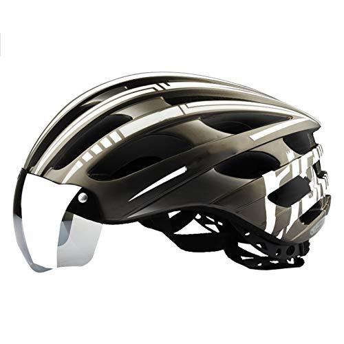 XYW Casco Adulto Casco de Ciclismo - Bicicleta de montaña Masculina Gafas magnéticas Gafas Una Mujer Batería eléctrica Bicicleta Casco de Seguridad Equipo de Verano Ligero (Color : 03)