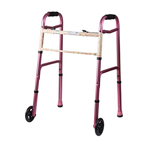 DMI Lightweight Aluminum Folding Walker with Easy Two Button Release, 5 Inch Wheels, Adjustable Height, Pink Floral