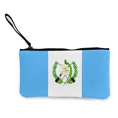 Moneda de lona, bolso de la bandera de Guatemala con cremallera, bolsa de cosméticos de viaje multifunción, bolsa de maquillaje para teléfono móvil, paquete de lápices con asa