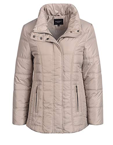 Bexleys Woman by Adler Mode Damen Steppjacke mit Stehkragen Greige 54